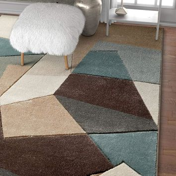 6114 Mint Blue Geometric Hand Carved Contemporary Area Rugs