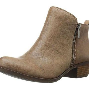 MDIGYW3 Lucky Brand Basel Brindle Goat Tide Leather Booties