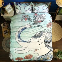 Dream NS Garden Elephant Bedding Set Floral Mandala Duvet Cover Indian Tribal Bed Linings Adults Bed Set Hippie Gypsy Bedspread