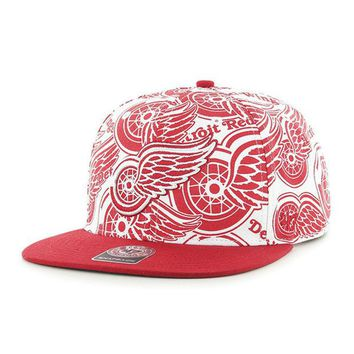 ONETOW NHL 47 Brand Detroit Red Wings Men's White Bravado Snapback