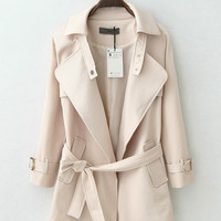Notched Collar with Belt Accent Sleeve Trench Coat