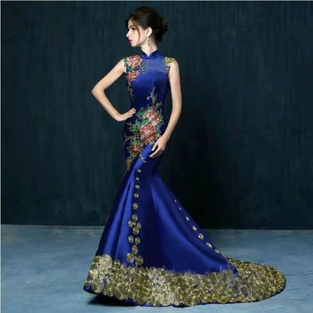 a59a818a4fa Luxury Royal Blue Embroidery Qipao Cheongsam Chinese Oriental We