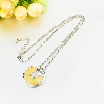 Gold Plated Chain Necklaces With Multicolor Enamel Round Pendants Necklaces