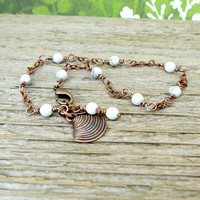 White Gemstone Anklet, Beach Inspired Anklet, Howlite Gemstones, Seashell Ankle Bracelet