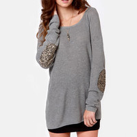 Patch Me if You Can Grey Sequin Sweater