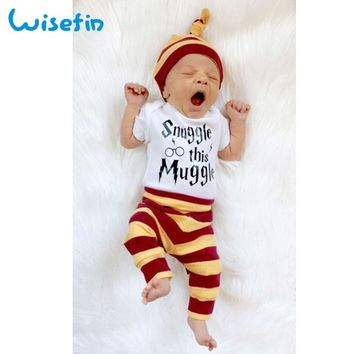 Wisefin Striped Newborn Clothing Set Boy Girl Baby Bodysuits+Pants+Hat Infant Clothes Set Toddler Baby Outfits Muggle Bodysuits