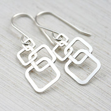 Square Earrings, Silver Geometric Earrings, Dangle Minimalist Earrings, Sterling silver, Simple Minimalist jewelry, Modern Urban style