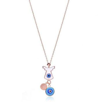 Gold Angel Evil Eye,Lucky Charm Necklace 925 Sterling Silver