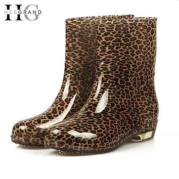 Women Rain Boots 2016 Autumn Shoes Woman Slip On Mid-Calf Motorcycle Platform Rubber Waterproof Boot Botas Feminina XWX511