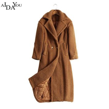 2018 Luxury Women Teddy Bear Feel Oversized Alpaca and wool Long Coat