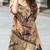 Yellow Bird Print V-Neckline Tassel Wraped Dress