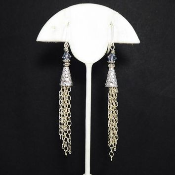 MOD Sterling Silver Cone Earrings with Ear wires for Pierced Ears, Dangling Silver Tone Chains with Smoky Grey Crystal Beads, Vintage 1990s