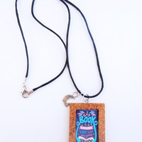 Book Quote Necklace Pendant Laminated Picture Cork Frame Handmade Jewelry