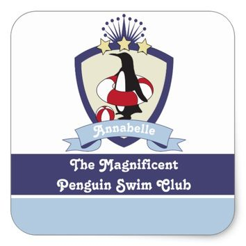 Cute Penguin Swimming Club Crest Personalized Kids Square Sticker