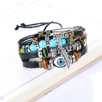 Punk Design Turkish Ethnic Evil Eye Bracelet For Men Wrap Multilayer Leather Braccelet Beads Feather  Charm Bracelet Adjustable