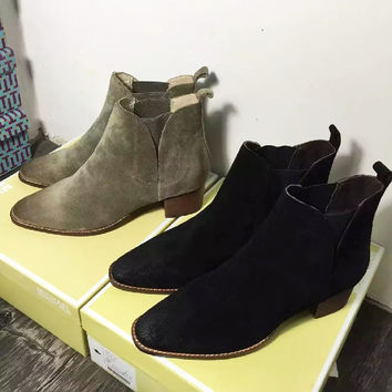 Real Suede Leather Women Chelsea Boots Ankle Martins For Girls Ladies Casaul Walking Vintage Stylish Low Heels Leisure Shoes