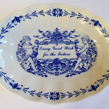"Spode Blue Transfer Miniature Cherub Platter Tray or Trinket Dish "" Every Good Wish For The Future ""Mementos"