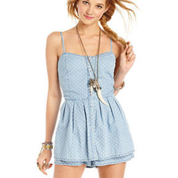 American Rag Juniors Romper, Sleeveless Chambray Polka-Dot - Juniors Jumpsuits & Rompers - Macy's