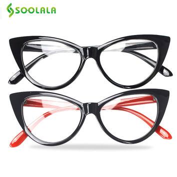 SOOLALA 2 PCS New Brand Women Optical Reading Glasses Spectacle Cat Eye Eyeglasses Anti-fatigue Computer Glasses Reader Oculos