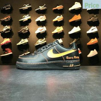 Sneaker paint Nike Air Force 1 Low Vlone Black Orange 815771 991 shoe