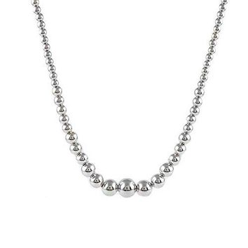 Ben and Jonah Fancy 925 Sterling Silver Graduated Bead Necklace 16 inch