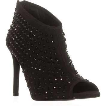 MICHAEL Michael Kors Dani Open Toe Bootie Studded Booties, Black, 6.5 US / 36.5 EU