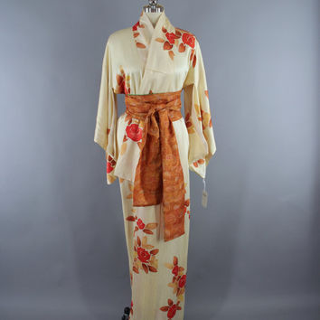SALE - 1960s Vintage Silk Kimono Robe / 60s Wedding Dressing Gown Lingerie / Downton Abbey Art Deco / Ivory & Orange Floral Print