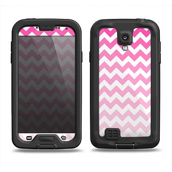 The Pink & White Ombre Chevron Pattern Samsung Galaxy S4 LifeProof Nuud Case Skin Set