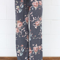 Soft Floral Print Lounge Pants {Navy Mix}