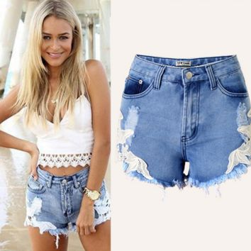 Ripped Hole Wash Denim Lace Jeans Shorts Pants