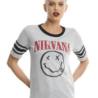 Nirvana Smiley Girls Athletic T-Shirt