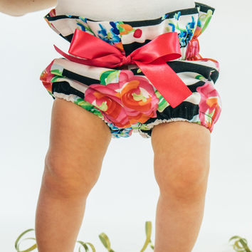Black and White Stripe High Waisted Bloomers