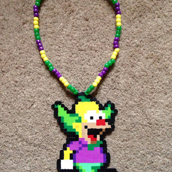 Colorful Krusty The Clown Simpsons 3D Kandi Perler Necklace