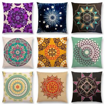 Dreamy Nature Lovely Flower Soul Mandala Crown Chakra Floral Pattern Design Prints Colorful Cushion Cover Sofa Throw Pillow Case
