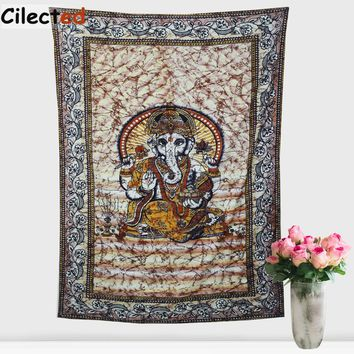 Cilected Indian Elephant Tapestry Hindu Mandala Printed Decorative Wall Hanging Blanket Art Carpet Religious Boho Decor