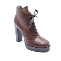 Brunello Cucinelli Womens Brown lace Up Ankle Boots