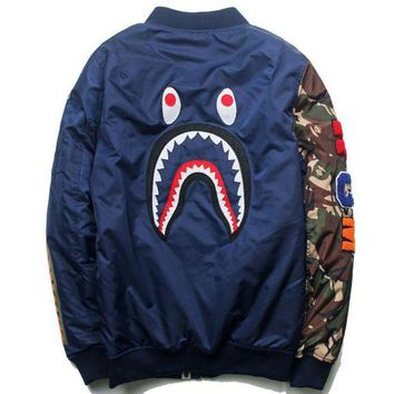 Bape Shark Print Men Women Casual Fashion Hoodie Jacket Coat Blue