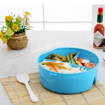 Child Student Lunch Box Round Plastic Microwave Lunch Box Bento Picnic Food Container Storage + Spoon