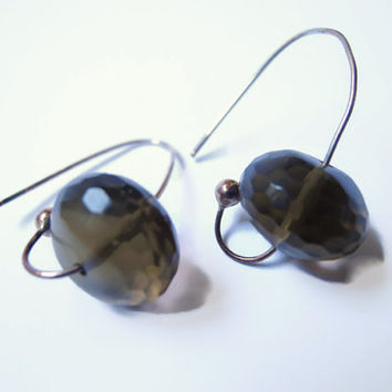 Brown gemstone dangle beaded earrings of  smokey quartz and sterling silver.