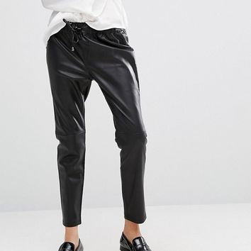 Mango Leather Look Jogger at asos.com