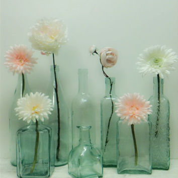 Green Glass,Aqua Glass Bottles,Beach,Wedding,DIY Wedding,Mint Green Glass,Decorative Bottle,Winter Wedding,Flower Vase,Shabby Chic Wedding