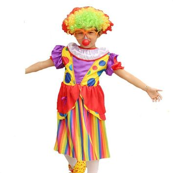 2017 New Kids Girls Colorful Clown Cosplay Costume Performance Props For Children Halloween Carnival Party Fancy Dress Decor