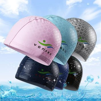 2017 High Quality PU Leather Ear Protection Swimming Cap Adult Men Women Waterproof Swimming Hat Silver Fast Shipping