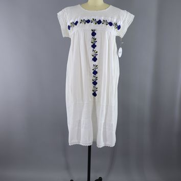 Vintage 1970s Cotton Gauze Caftan Dress / White & Blue Embroidered Floral Mexican Embroidery