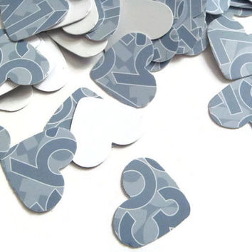 95 numbers heart shape math lovers teacher gift blue gray cardstock 1 inch wedding confetti scrapbooking diy decor table  lasoffittadiste
