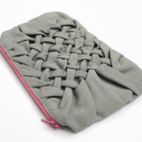 Large Makeup Bag, Gray Cosmetic Case, Smocked Cosmetic Bag, Toiletry Bag, Gray Makeup Case, Cotton Pouch, Large Zippered Case, Beauty Bag