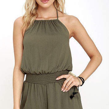 Take the Leap Olive Green Romper