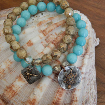 Aqua blue agate stones, turtle charm, rustic boho chic, bohemian style, beach chic, casual, everyday jewelry