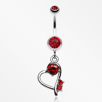 Sparkling Stone in Heart Dangle Belly Ring