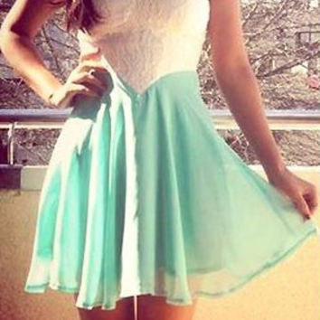 Green and White Strapless Backless Dress